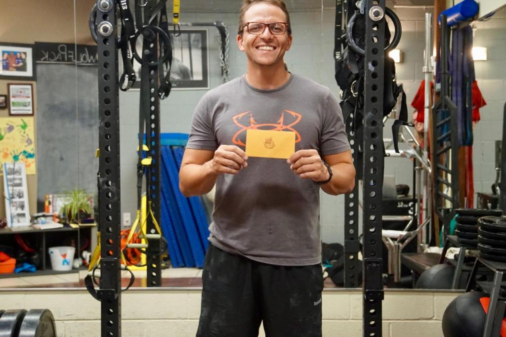 Matt wins the award after losing 10 lb and increasing his strength especially with the squats and deadlifts.