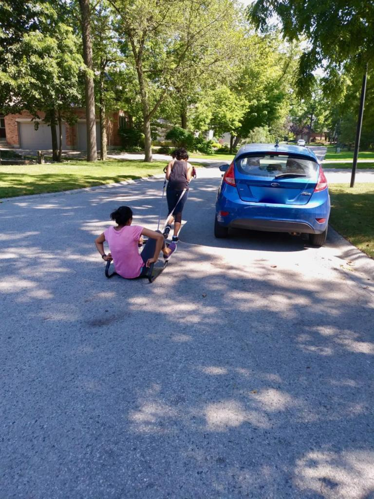Rox is pulling Priti around her parking lot. Family in home training done well!